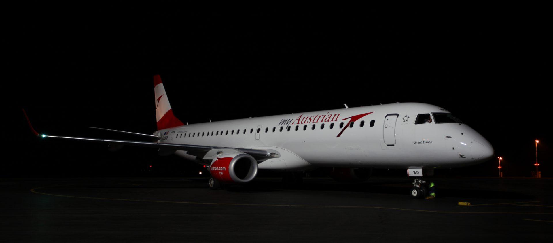Embraer 195 spoločnosti Austrian Airlines. Foto: Manfréd Ťukot